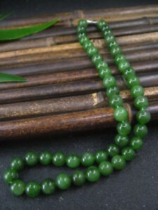 Antique Chinese Nephrite Celadon-HETIAN OLD jade 9mmBead Necklace-Pendant948