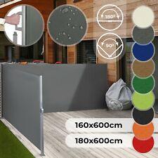 Doppel Seitenmarkise Ausziehbar Balkon Garten Windschutz Sichtschutz Seitenrollo