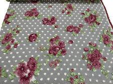 Stoff Ital. Musterwalk Walkloden Relief Blumen Punkte grau bordeaux grün weiß