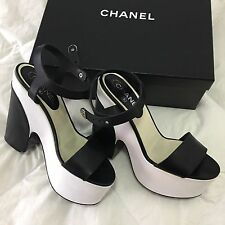 Chanel Black & White Chunky Leather Sandal Strappy Wedge Heels Sz 39 $1500 Italy
