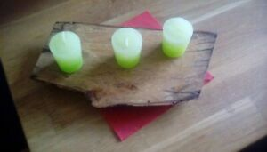 Rustic wooden handmade candle holder. ( Reversible )