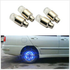 4 X BLUE Motor Bike Bicycle Car Valve Caps Light Tyre Wheel Neon LED Lamp New