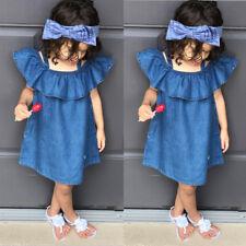 Kids Baby Girls Summer Princess Dress Party Denim Tutu Dresses Beach Skirt