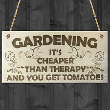 Gardening It's Cheaper Than Therapy Novelty Wooden Plaque Funny Garden Sign Gift