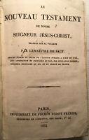 1831 NOUVEAU TESTAMENT EPITRES EVANGILES JESUS CHRIST LIVRE RELIGION BOOK BIBLE