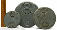 Vintage APOTHECARY SCALE WEIGHT Lot of 3 Balance Weights 2, 4 & 8 LBS. Marked PS
