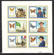 Fujeira, Mi cat. 999-1004 B. Scouts & Butterflies, IMPERF sheet of 6.