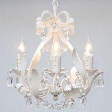4 Light Mini Chandelier Nursery Room Kitchen Bedroom White Floral Lighting NEW