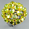 Expensive 120US Natural Peridot 925 Sterling Silver Ring Size 7.5/R114016