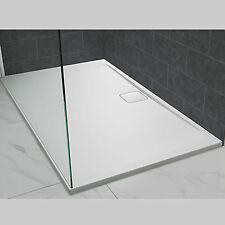 MERLYN LEVEL25 SHOWER TRAY STONE RESIN 25MM SLIM WHITE SQUARE RECTANGULAR WASTE