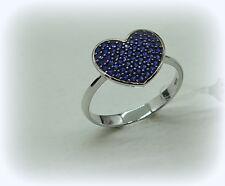 Anello cuore in oro 18ct e zirconi blu misura dito 14