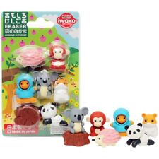 JAPAN ERASERS IWAKO PUZZLE ERASER OMOKESHI SET ANIMALS IN FOREST