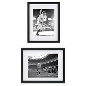 Framed Babe Ruth Baseball New Yankees Set of 2 Print 8X10 Black Frame Photo Set