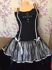 Rave Boned Corset Zip Dress Gothic Double Lace Frill Skirt Lingerie Party Women