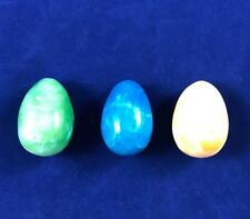 VINTAGE ITALIAN MARBLE/ALABASTER/STONE EGGS 1.75 INCHES SET OF 3