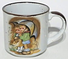 Children Under Umbrella Japan Coffee Mug Rain Drops In and Out the Cup Vintage