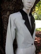 ULTRA HIP 80s White Leather Cropped Tuxedo Jacket Womens Small Bolero Vintage