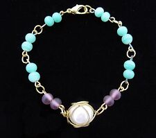 "GREEN Purple Glass BEAD Faux Pearl  BRACELET Vintage Goldtone 7"" Length"