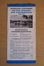 Reiseprospekt/ Fahrplan Schiffahrt Ammersee / Starnbergersee 1969, 4 Seiten