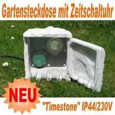 Gartensteckdose im Steindesign Zeitschaltuhr IP44 230V Garten Steckdose Stein