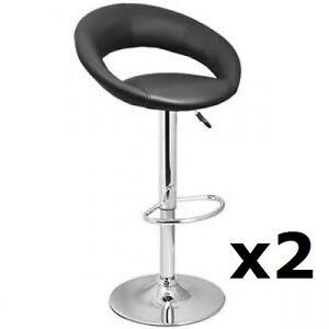 2 X BLACK Chrome Bar stool Swivel Apollo Breakfast Kitchen barstool (X2) T307G
