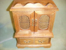 Multi Compartment Wood Jewelry Chest music box W/3 Drawers & 2 Doors Toyo Japan