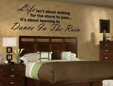 "LIFE ISN""T ABOUT WAITING DANCE IN THE RAIN Quote Vinyl Wall Decal Decor Sticker"