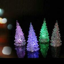 LED Crystal Color Changing Mini Christmas Tree Night Light Lamp Home Decor Set