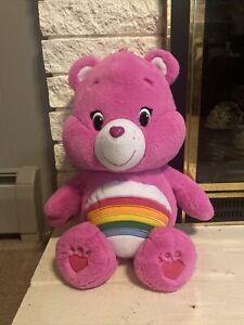 "Just Play Care Bears Cheer Bear Jumbo Plush Rainbow Pink 20"" tall 2015"