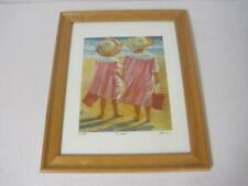 """Sisters"" Watercolor Print Artist September McGee 45/500 Framed Signed Numbered"