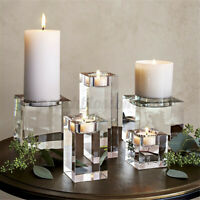 5x10cm Elegant Crystal Cube Tealight Candle Holder Stand Wedding Table Decor PP