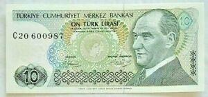 1970 Turkey 10 Türk Lirasi  Paper Money Banknote  C20 600987 Uncirculated
