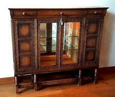 antique late 1800's wood china cabinet with storage display
