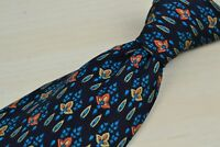 Brioni Blue Red Floral Plant 100% Silk Mens Tie Made in Italy
