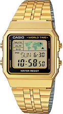 Casio World Time 5 Alarms LED Backlight Gold Steel Band Watch A-500WGA-1D New