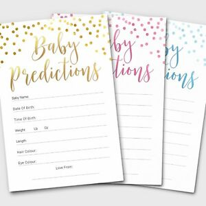 10 x Baby Shower Games Prediction Cards Pack ~ Boy / Girl / Unisex
