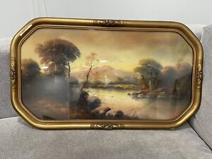 Antique Signed Wilson Chalk / Pastel Drawing Landscape in Gold Frame