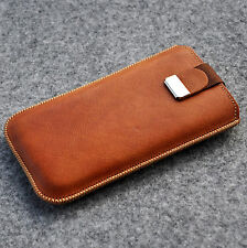 iPhone 4s 4 cover brown real leather case sleeve with magnetic flap soft lined