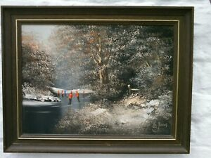 Les Parsons Original Oil Painting People Skating On A Frozen Snowy Lake VGC