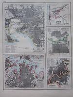 1897 Viktorianisch Landkarte ~ Melbourne Stadtplan Sydney Brisbane Adelaide