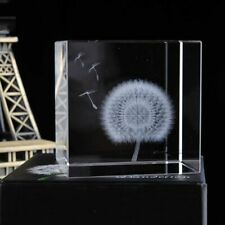 3D Laser Engraved Cube Crystal Dandelion Figurines Souvenir Crafts Home Decor