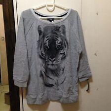 Mango Gray Tiger Studded Sweatshirt size Medium