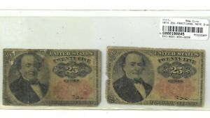 Lot of 2 1874 25 Cent Fractional Notes F1308 & F1309 190045p