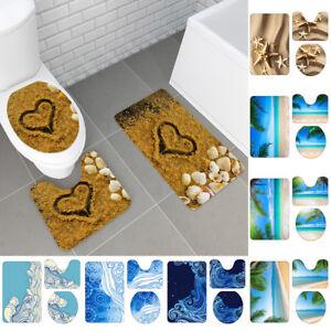 3Pcs Beach Coast Non-Slip Bathroom Carpet Pedestal Rug+Toilet Cover+Bath Mat Set