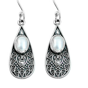 4.52cts Natural White Pearl 925 Sterling Silver Dangle Earrings Jewelry P63891