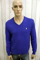 RALPH LAUREN Uomo Taglia M Maglione Blu Cotone Casual Sweater Manica Lunga