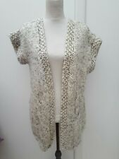 Hand Knit Ladies Size 12 14 Black Cream Short Sleeve Cardigan Autumn Unbranded
