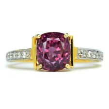 3.50ct Natural Purplish Pink Spinel With 12pcs 0.19ct VS/G DIAMOND 18K Gold Ring