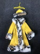 Vintage Barbie #1459 Yellow Fur Coat & Hat Tagged