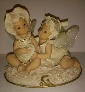 Resin Painted Fairy Children w/ Bird Nest Fabric Wings Detailed Fantasy Statue